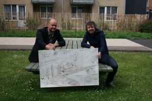 Samen met Koen De Decker bij de tekening van De Droomgaard